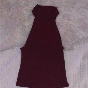 LA hearts high neck red sweater knit crop top